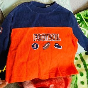 8/$15 Y2K Football Patch Thermal Crew Neck Sweater